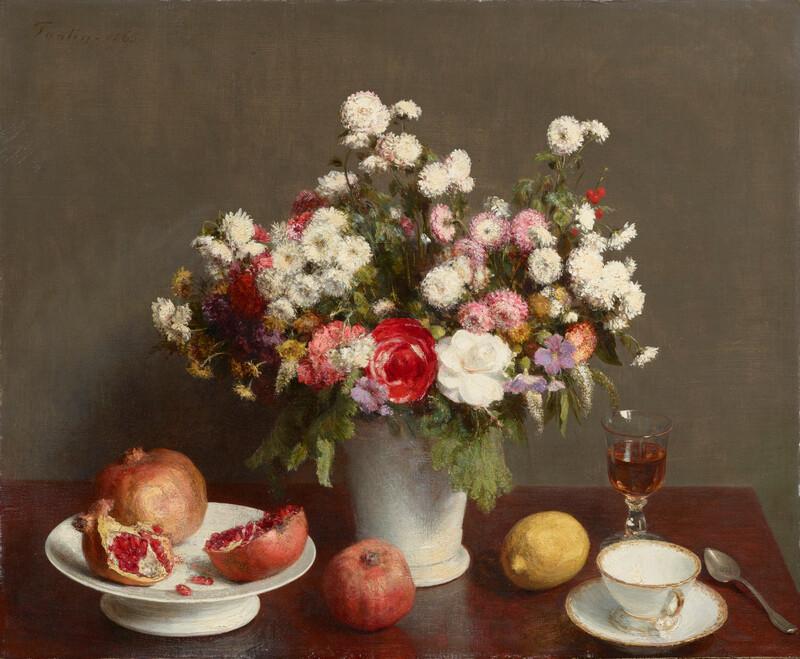《静物(花、果実、ワイングラスとティーカップ)》