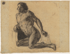 《凭れる裸体》 1863-66年頃 木炭・紙