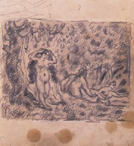 《三人の水浴の女たち》 1874-78年頃 鉛筆・紙
