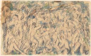 《水浴群像》 1897-1900年頃 鉛筆、水彩・紙