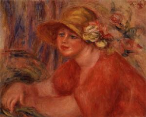 《花のついた帽子の女》 1917年 油彩・カンヴァス