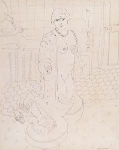 《リュリュと犬》 1931年 インク・紙
