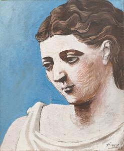《女の顔》 1923年 油彩、砂・カンヴァス