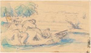 《水辺の人物たち》 1877年頃 鉛筆、水彩・紙