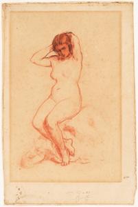 《裸婦》  チョーク(黒/赤)・紙