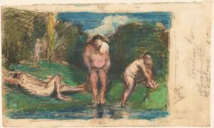 《休息する水浴の男たち》 1875-77年頃 インク、水彩・紙