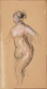 《裸婦》 1908年 コンテ・紙