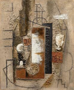 《ブルゴーニュのマール瓶、グラス、新聞紙》 1913年 油彩、砂、新聞紙・カンヴァス