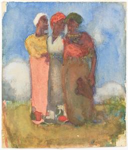 《丘に立つ三人》 1904年 水彩・紙