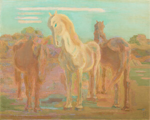《放牧三馬》 1932年 油彩・カンヴァス