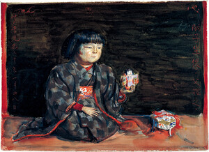 《麗子坐像》 1920年 水彩・紙