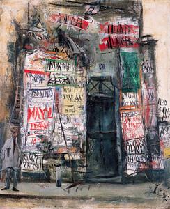 《広告貼り》 1927年 油彩・カンヴァス