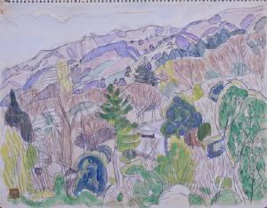 《湯河原風景》  水彩、鉛筆・紙
