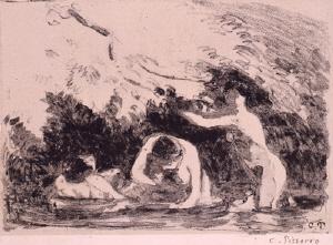 《水浴の女たち (マルティ版『レスタンプ・オリジナル』第9号所収)》 1895年刊 リトグラフ