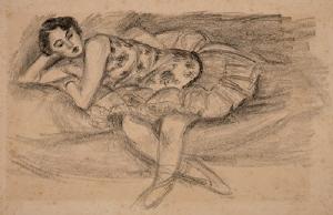 《ソファーの踊り子》 1927年 リトグラフ