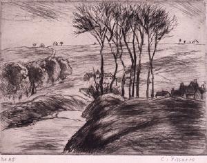 《オスニー風景(マルティ版『レスタンプ・オリジナル』第5号所収)》 1894年刊 ドライポイント