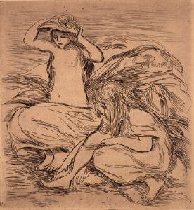 《水浴の少女たち(マルティ版『レスタンプ・オリジナル』第9号所収)》 1895年刊 エッチング
