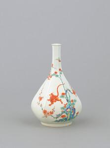《色絵竹梅虎文六角瓶》 江戸時代 1670-1700 磁器