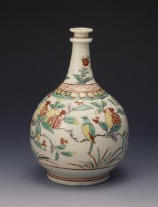 《色絵花鳥文瓶》 江戸時代 1670-1700 磁器