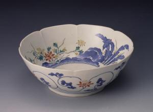 《色絵花鳥文輪花鉢》 江戸時代 1670-1700 磁器
