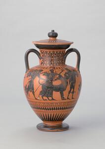 アッティカ黒像式頸部アンフォラ「ヘラクレスとケルベロス図」