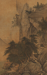 《四季山水図(夏幅)》 室町時代 15世紀 絹本墨画淡彩