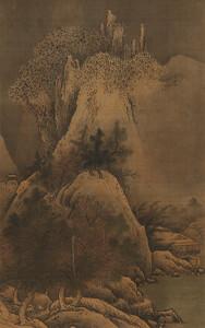 《四季山水図(冬幅)》 室町時代 15世紀 絹本墨画淡彩