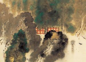 《糺の森 秋雨》 1919年 絹本著色