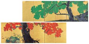 《青楓朱楓図屏風》 江戸時代 19世紀前半 紙本金地著色