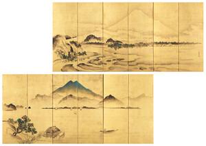 富士筑波山図屏風