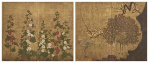 孔雀立葵図屛風