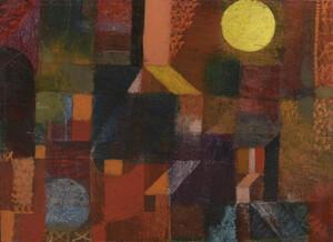 《小さな抽象的ー建築的油彩(黄色と青色の球形のある)》 1915年 油彩・厚紙